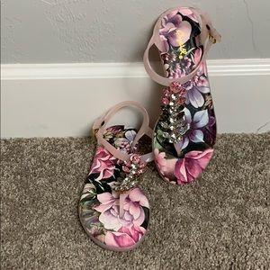 Rhinestone floral sandals